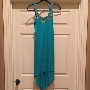 Turquoise beaded t shirt material high low dress